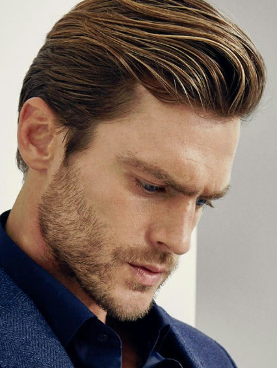 Shiny Pushed Back Pompadour Mens Hairstyles Pompadour Mens Hairstyles Medium Long Hair Styles Men