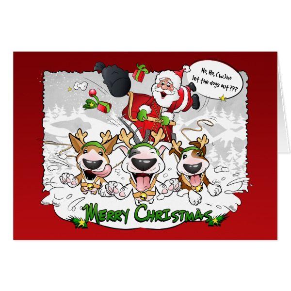 Bull Terrier Cartoon Christmas Greeting Card #cards #christmascard #holiday