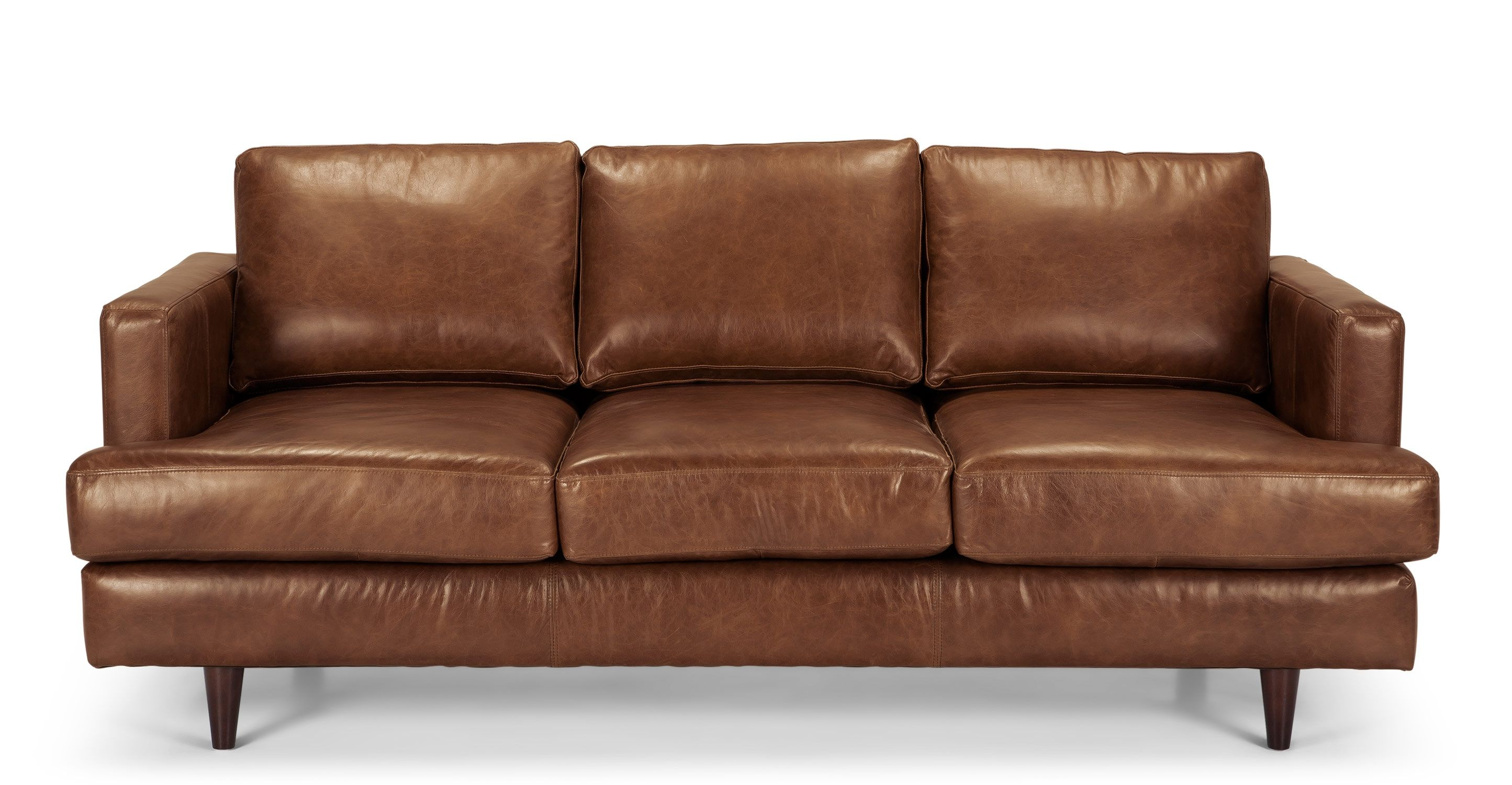 Best Irvine 3 Seater Sofa Pecan Brown Premium Leather Made Com 400 x 300
