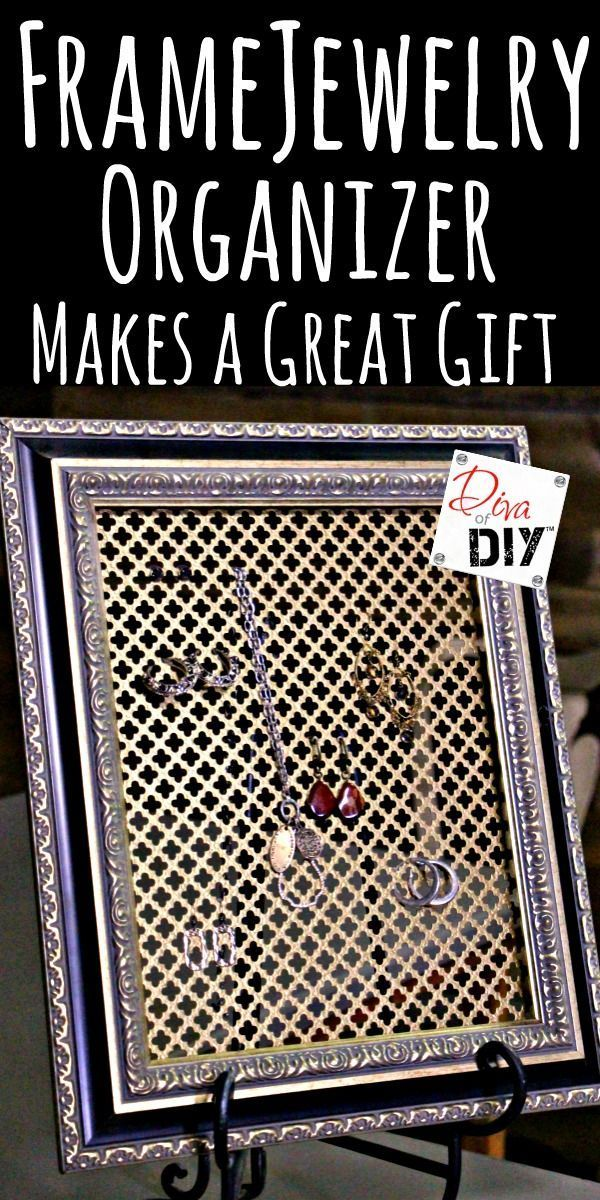 Make a quick and easy DIY Jewelry Organizer from an old frame! This ...