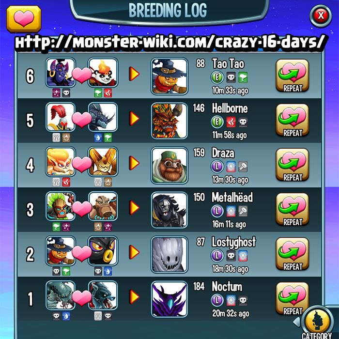 Everything You Need To Know About Crazy 16 Days Event Monster Legends Monster Legends Game Monster Legends Breeding