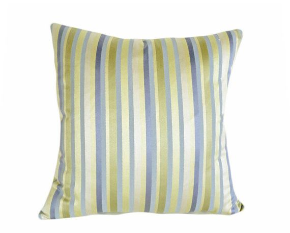 Soft blues, buttery yellow and a mellow sage are all so pretty here on this shabby chic striped pillow cover. Perfect, peaceful coloring for