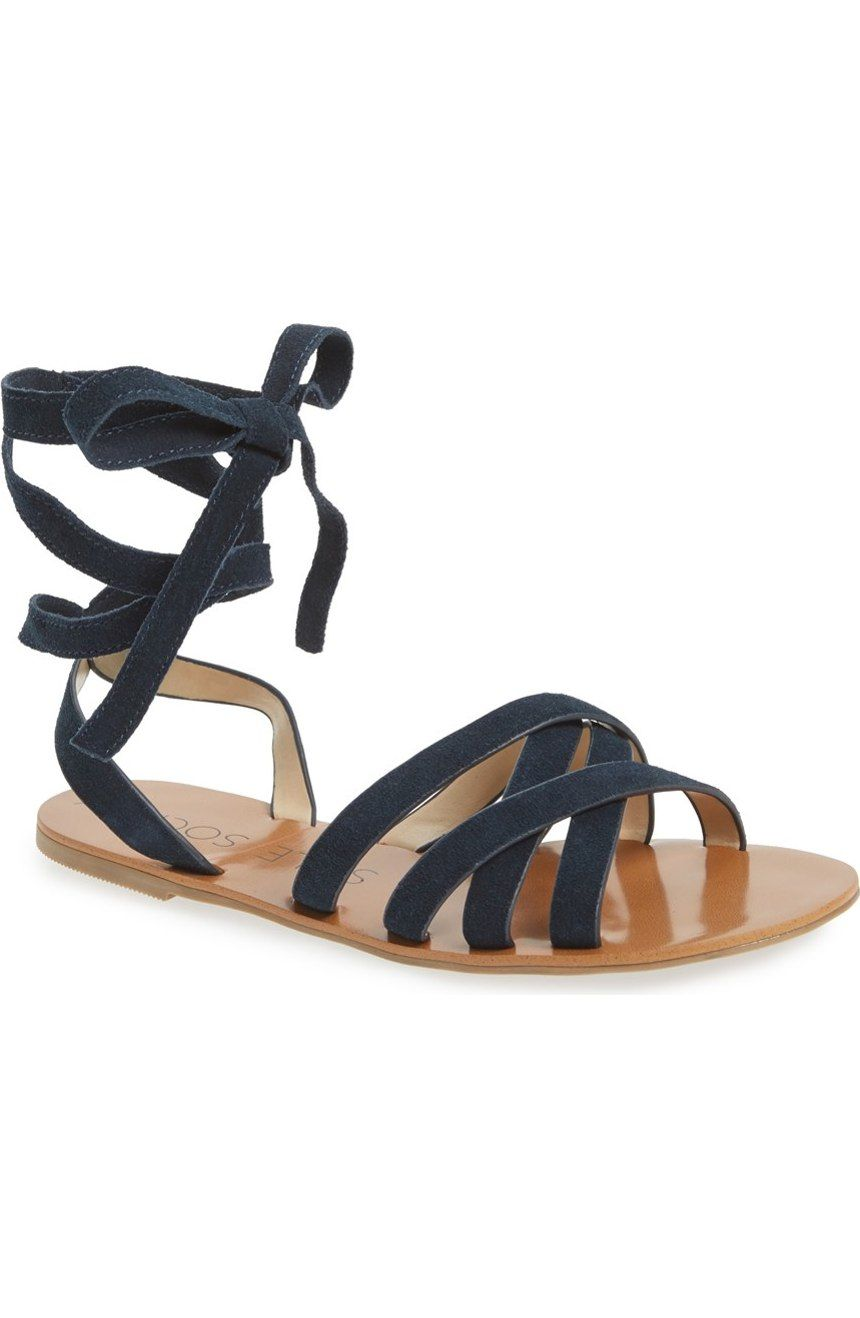 6a3f6c3fc521 This versatile open-toe sandal features four straps that crisscross at the  instep and two straps that wind around the ankle to finish in a bow. So  cute!