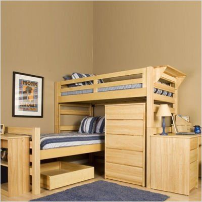 found it at wayfair university loft graduate series extra long senior crew twin l shaped bunk bed with built in ladder - L Shaped Loft Bunk Bed Plans