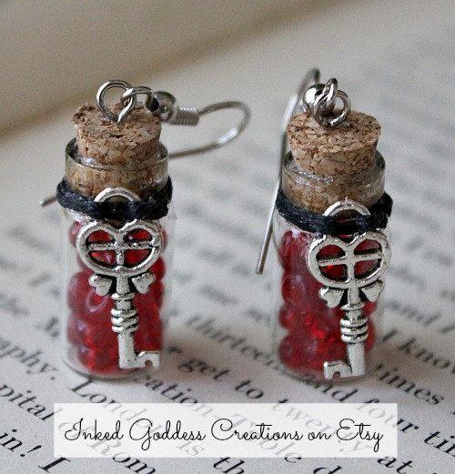 So Cute!! Key to My Heart Glass Vial Earrings