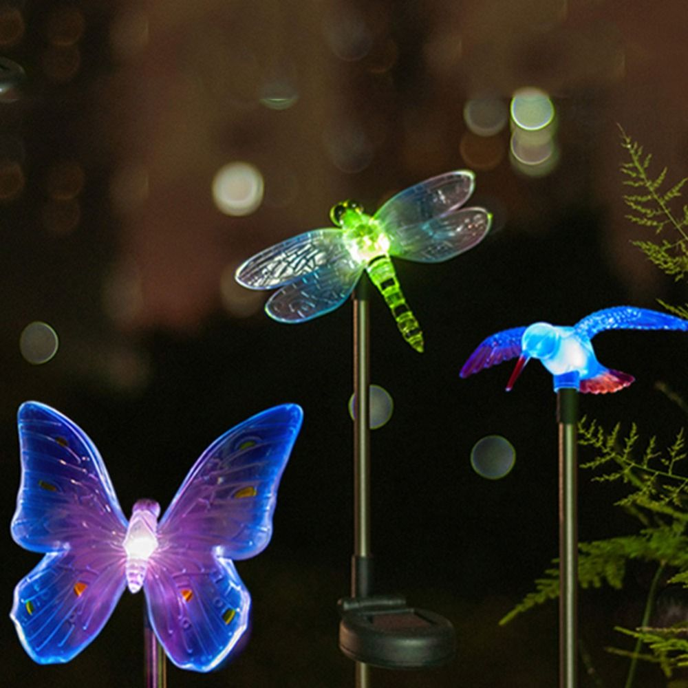 LED Solar Light Outdoor Dragonfly Butterfly Bird Type Lamp Plastic