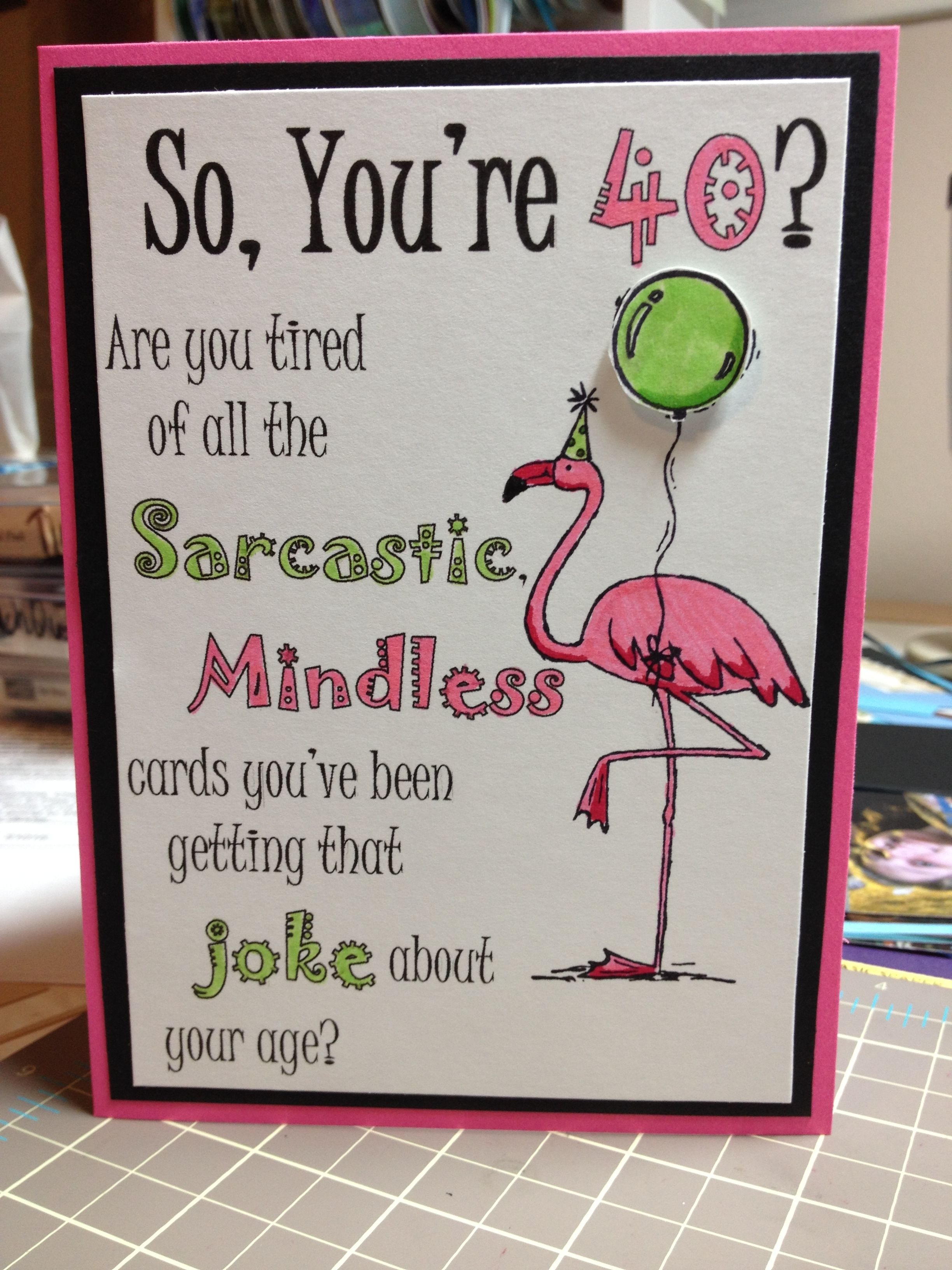 Flamingo 40th birthday card using stampin up tickled pink stamp flamingo 40th birthday card using stampin up tickled pink stamp set i used bookmarktalkfo Image collections