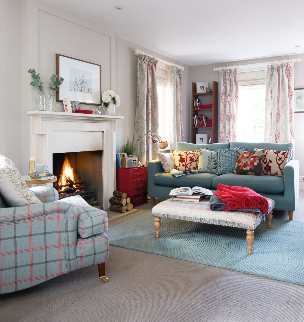 Update a neutral colour palette with shades of cherry red for Neutral palette living room