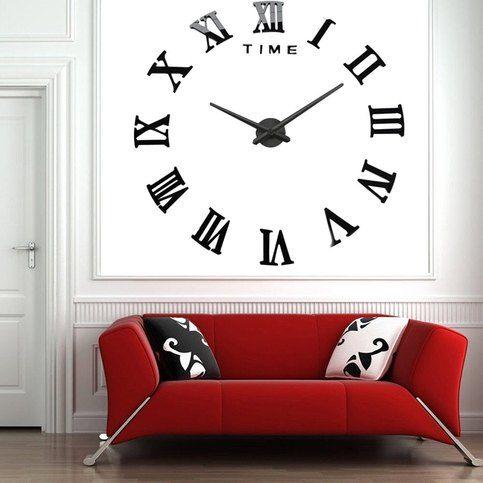 Classic Black Roman Numeral 3d Diy Large Number Analog Wall Clock Wall Clock Sticker Diy Clock Wall Large Wall Clock