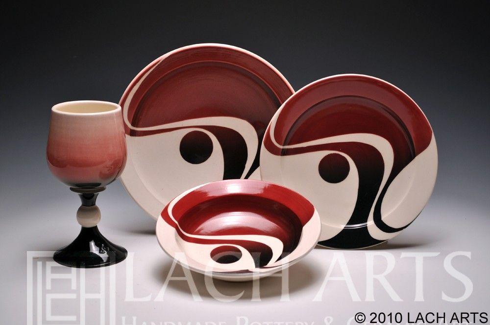 RED SKIES at NIGHT (Wave design dinnerware) via Etsy.