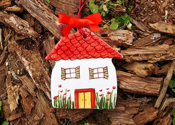 Hanging ceramic little house with garden 2 by IoannasVeryCHic, $15.00