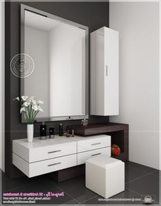 Master Bedroom: modern vanity table built in | KANWAL collection ...
