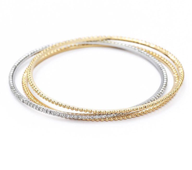 Trendy 14K Gold Plated 3 Bangle Bracelets