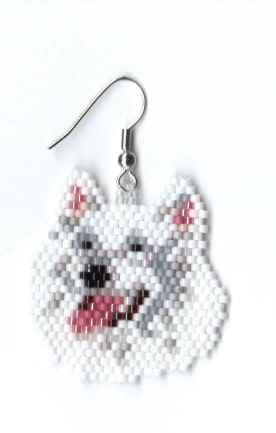 Hand beaded ~ Samoyed dog head angle earrings, for my gf