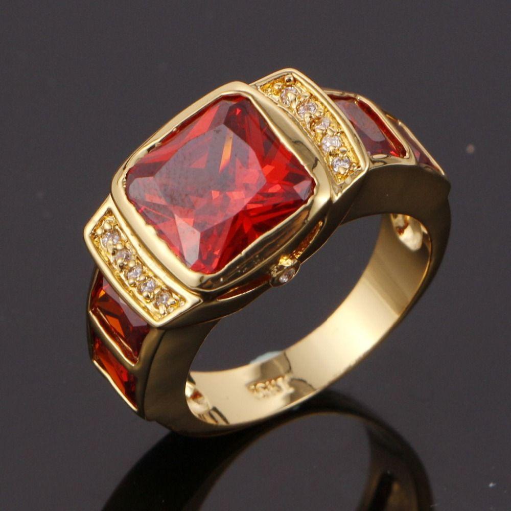 Ruby Wedding Gifts For Men: Suohuan Men's Fashion Ruby Jewelry Men Rings CZ 18 K Gold