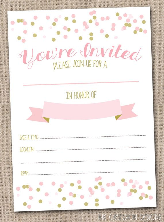 instant download girls invitation pink gold printable party