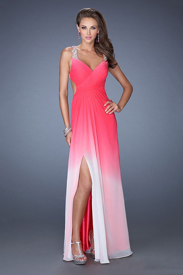 2014 Pleated Bodice Backless Beaded Straps A Line Chiffon Prom Dress ...