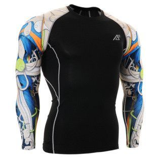 Life on Track Blue Japanese Ink Long-Sleeve Compression Shirt ca1f36ff40d