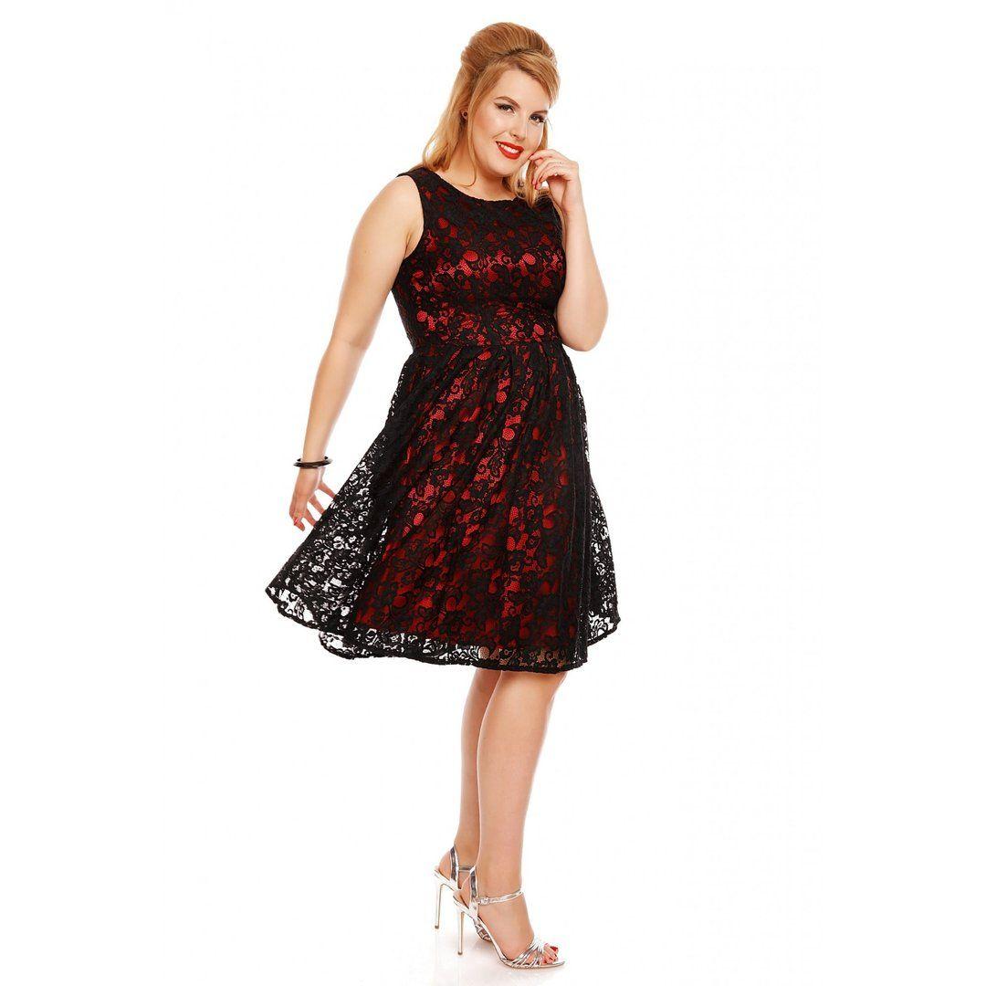 011ae89d6d5a Dolly   Dotty 50er Jahre Retro Spitzen Petticoat Kleid - Annie - Schwarz Rot