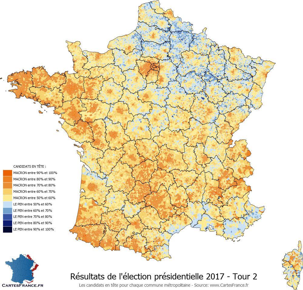Carte Des Resultats De L Election Presidentielle 2017 2nd Tour