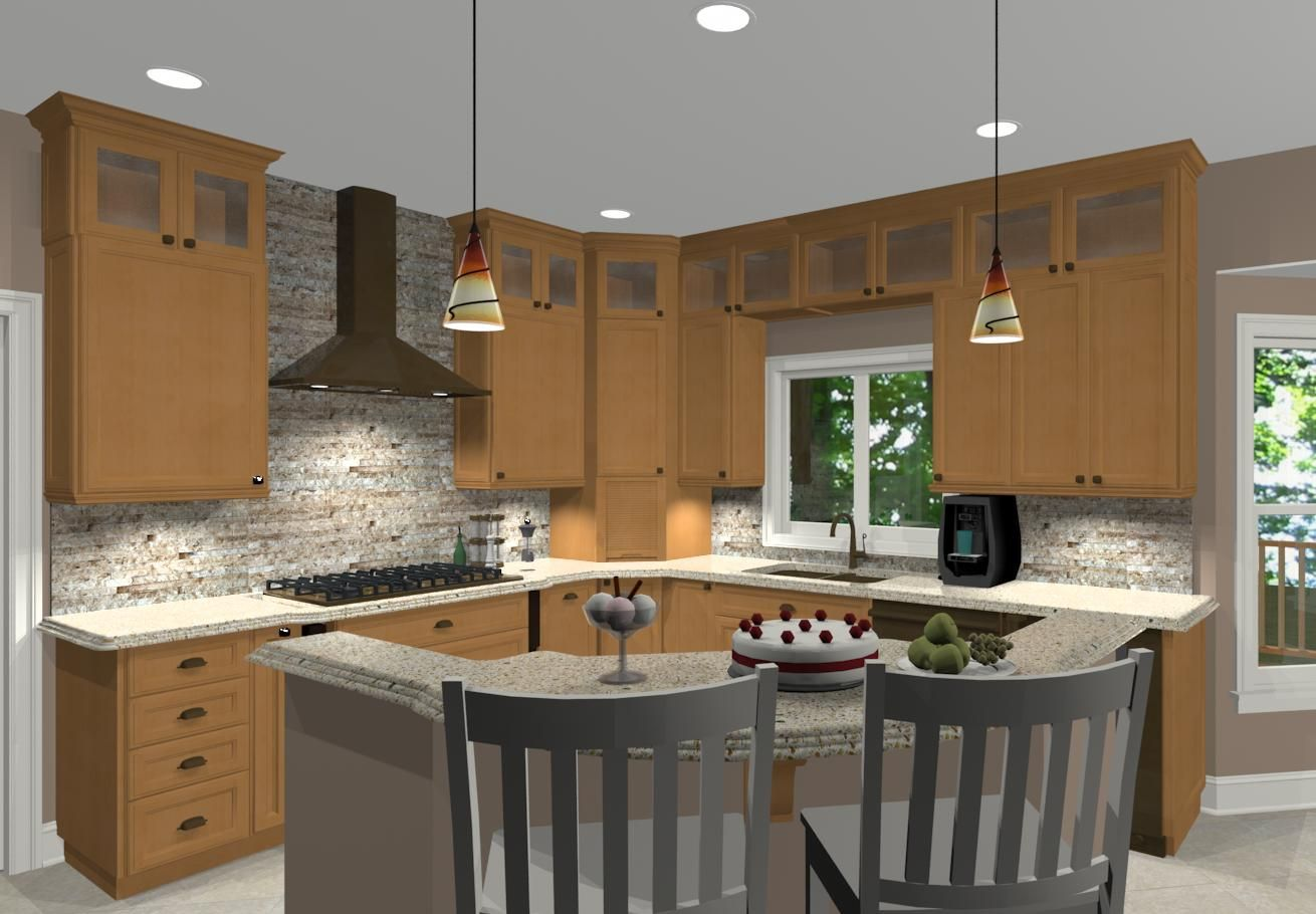 Clipped Corner Island With Seating Desin Buld Pros B L Shaped Island Kitchen,  L Shaped