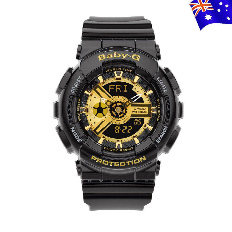 1c537709aa2 CASIO Baby-G-Shock Black Gold Face Chronograph Women s Watch G-BA110-1A NEW