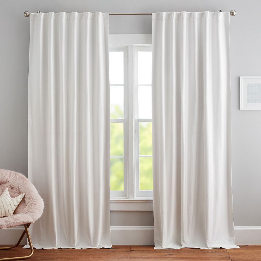 Monique Lhuillier Silk Blackout Curtain Panel 44 X 96 Ivory In 2021 White Drapes Living Room White Curtains Living Room Living Room Drapes