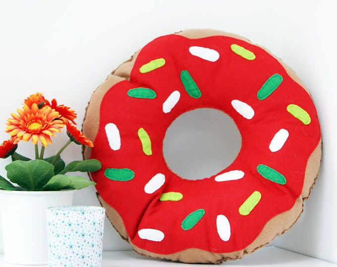 SALE Large Bright Red Doughnut Cushion Ring Donut Pillow