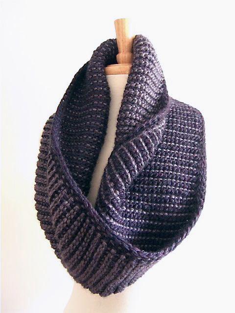 mobius wrap scarf cowl - amethyst 3 | Tunesisch, Tunesisch häkeln ...