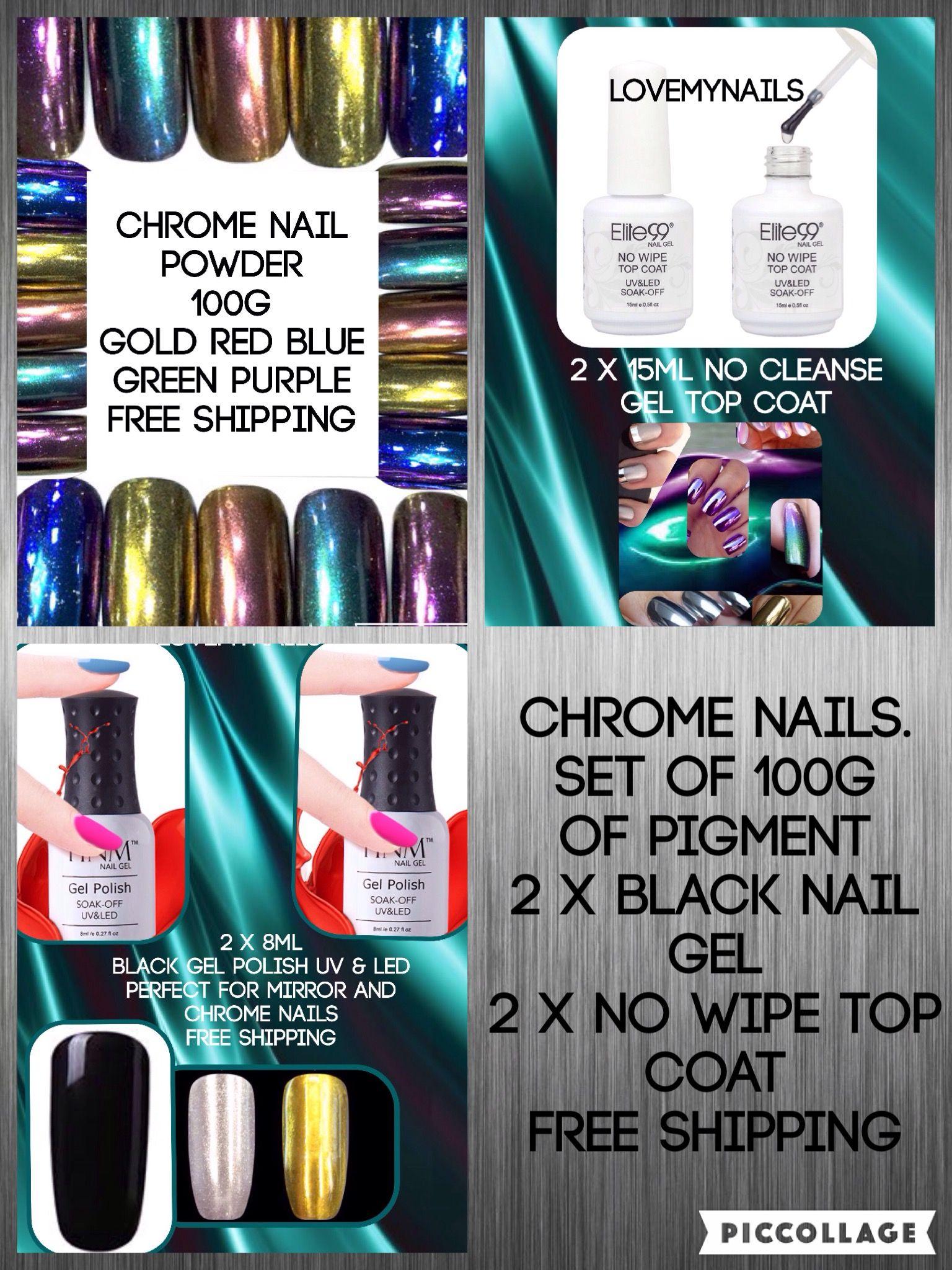 Chrome Nails Mirror Nail Set 100g Mixed Pigment Powder 2 Black Base Coat No Wipe