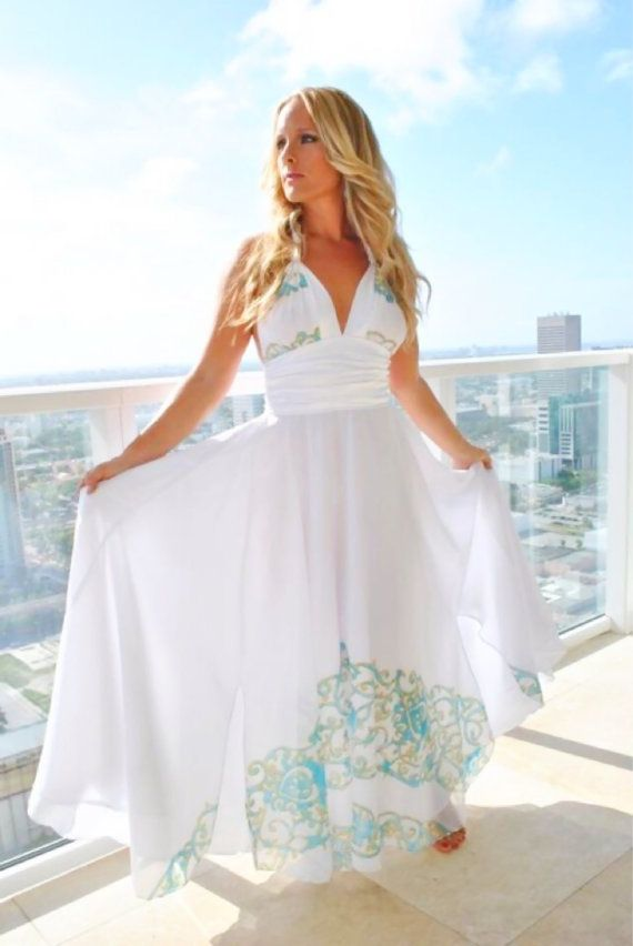 Long White Couture Beach Wedding Dress Dresses White Chiffon Print Turquoise  Halter Top Backelss Empire Waist A Line Maxi Dress Beach Outfit