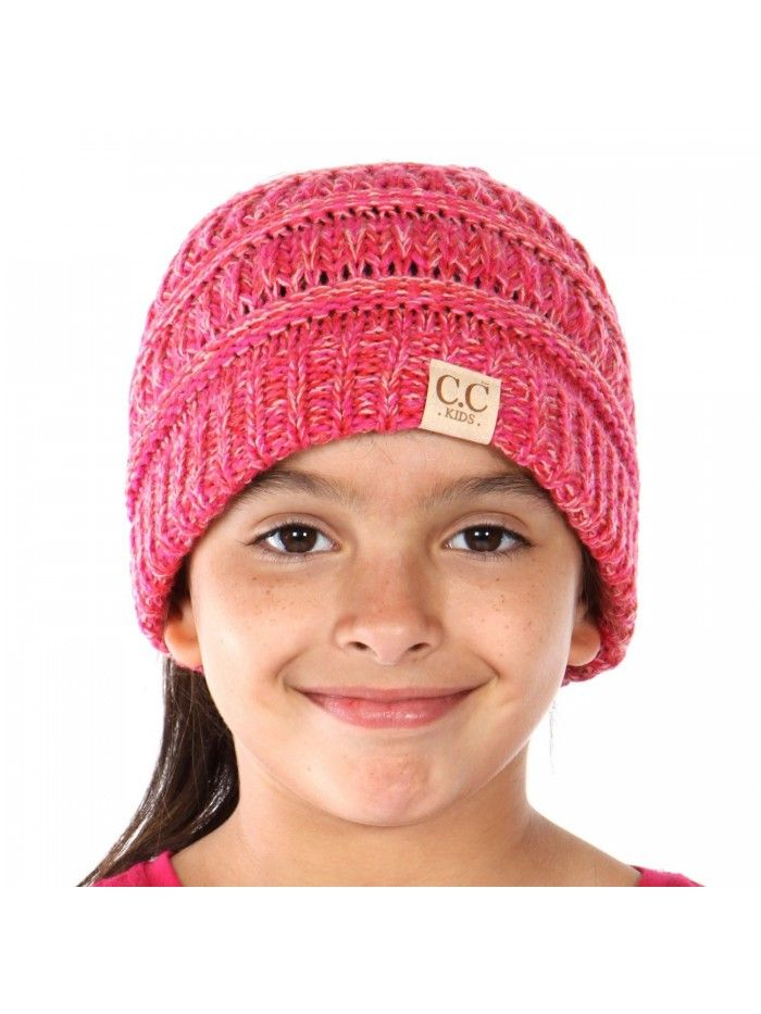 Hats & Caps, Women's Hats & Caps, Skullies & Beanies, Beanie Tail Kids Soft Stretch Cable Knit Messy High Bun Ponytail Beanie Hat - Tri Color Pink - CC188DQOGCZ  #caps #hats #styles #outfits #women #shopping #Skullies & Beanies #kidsmessyhats