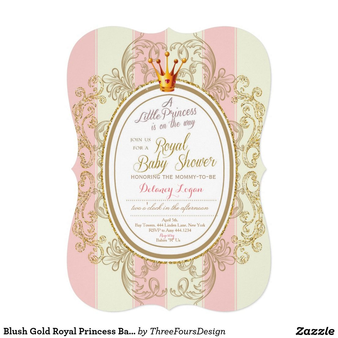 Medium Crop Of Princess Baby Shower Invitations