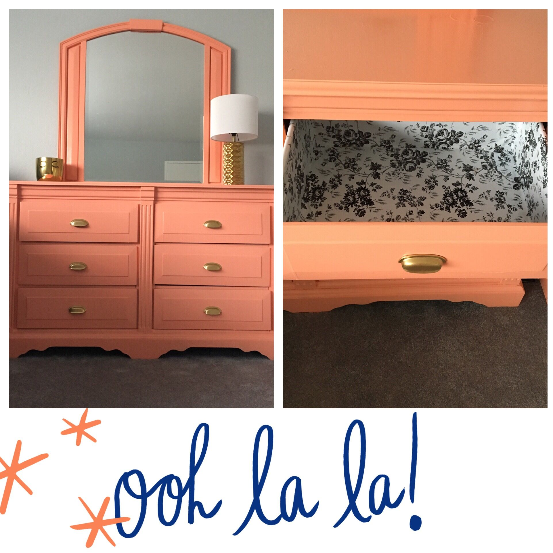 Peach painted dresser with floral contact paper from dollar store