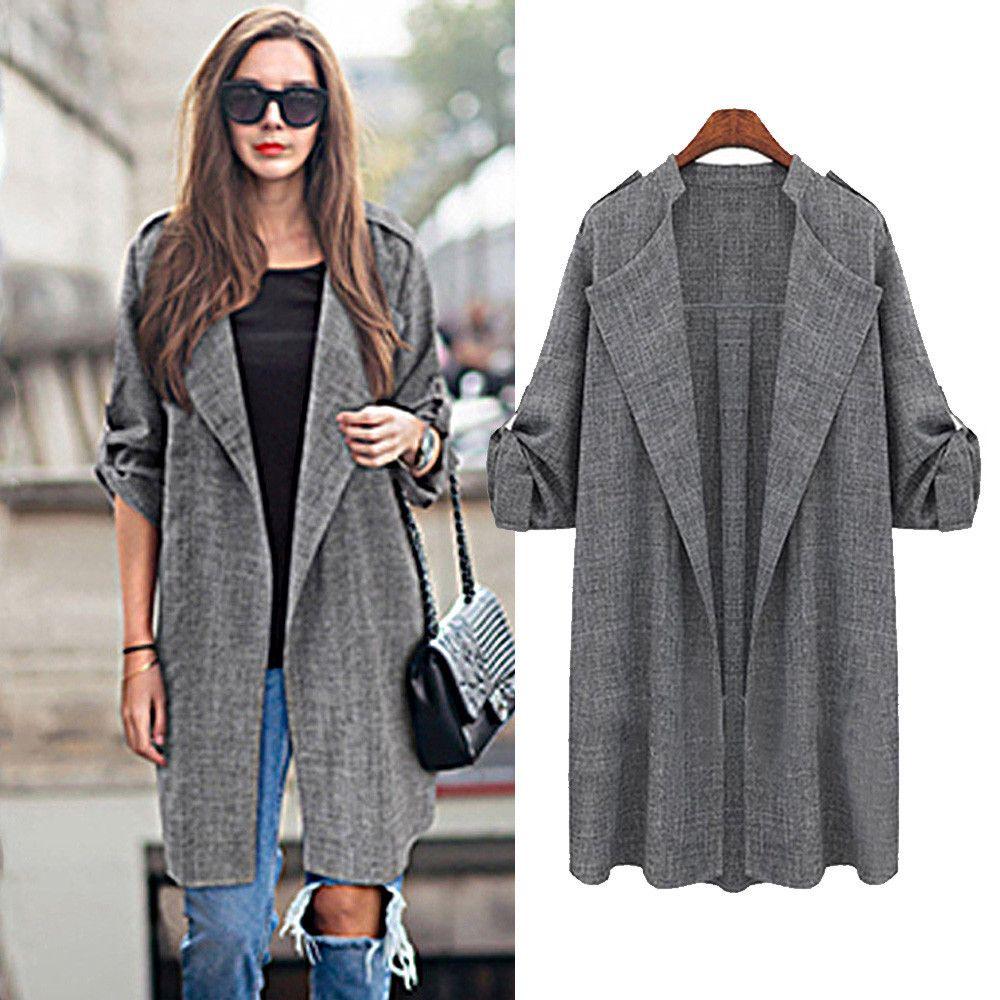 large Plus size 5XL Womens Open Front Trench Coat Long Cloak ...