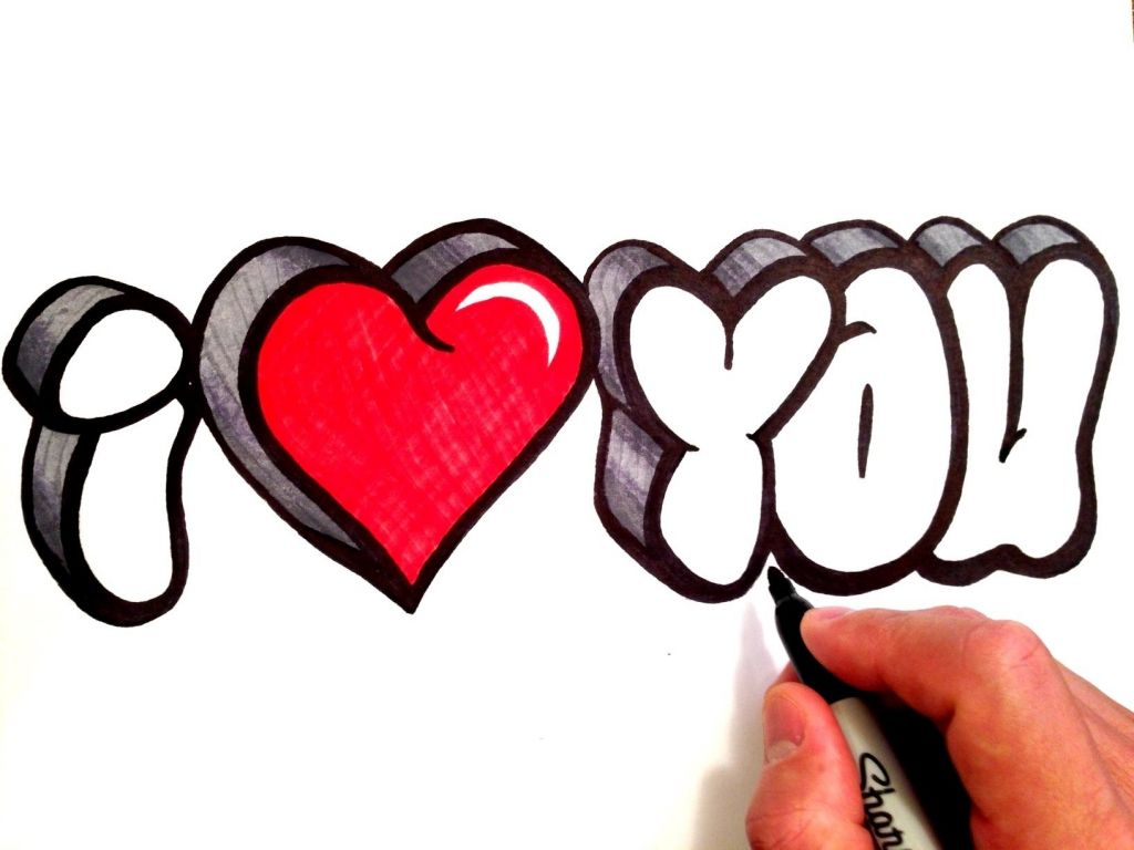 Dibujos de i love you graffiti como dibujar graffitis de
