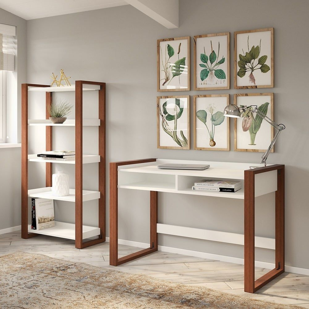 Voss 48W Desk with Bookcase from kathy ireland Home by