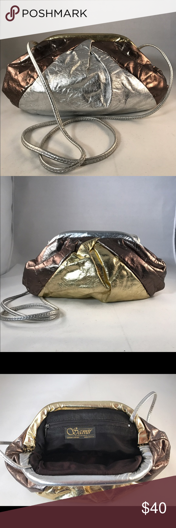 Vintage Samir Handbags Cross Body Purse I call this my disco bag! This purse is amazing! One side is more gold and the other is more silver so whatever metallics you are wearing it will match! I love the cross body strap, but you can easily fold it inside and use this as a large clutch instead. Bag opens easily because of the hinge inside (reminds me of a clamshell purse). This bag is totally on trend and ready to go to a new home! Samir Handbags Bags Crossbody Bags