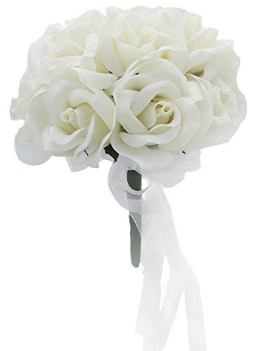 Ivory silk rose toss bouquet silk bridal wedding bouquet want to explore silk flower centerpieces and more mightylinksfo