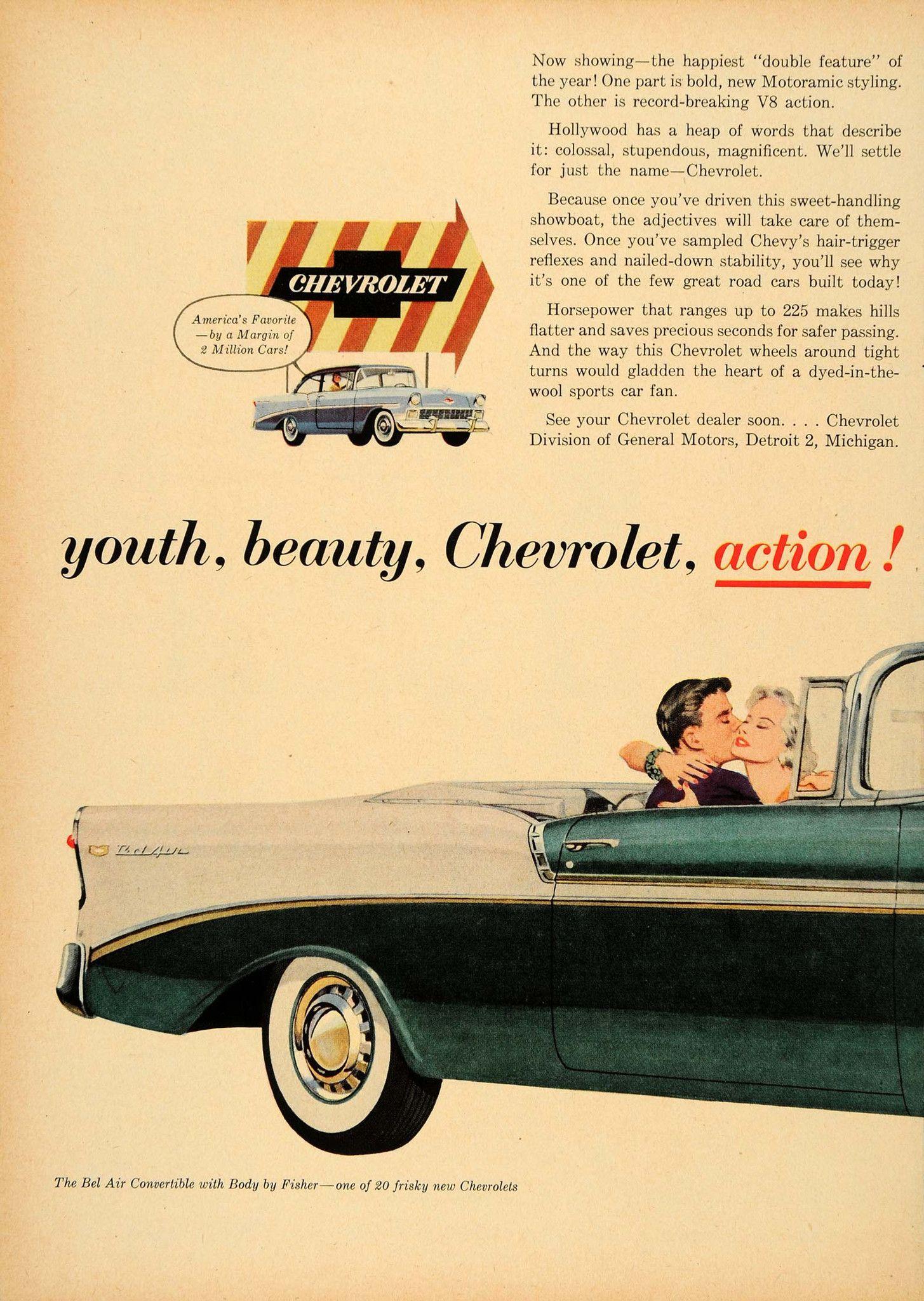 1956 Ad Chevrolet Division GM Green Bel Air Convertible  ORIGINAL