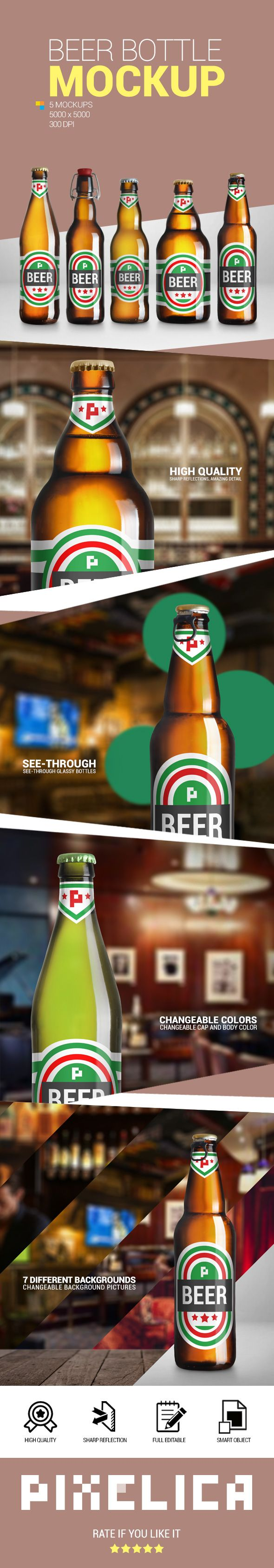 Download Beer Bottle Mockup Pack 2 (With images) | Bottle mockup ...