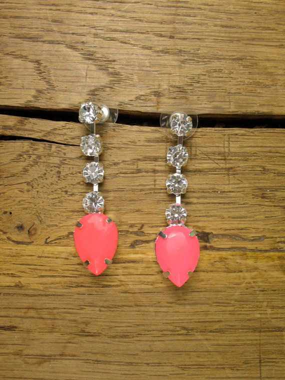 Neon Pink  Crystal Teardrop Earrings