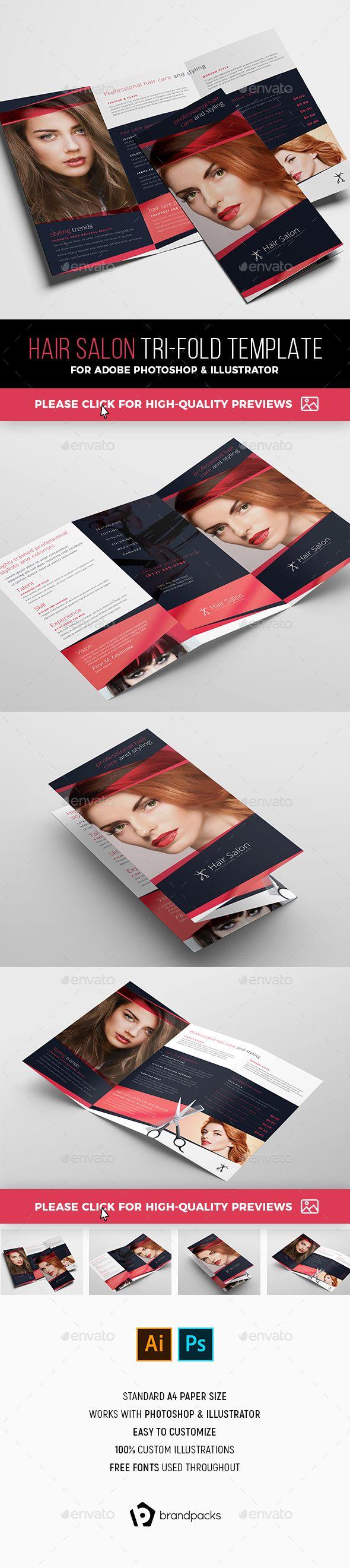 Hair Salon Tri-Fold Brochure Template PSD, AI #design ...