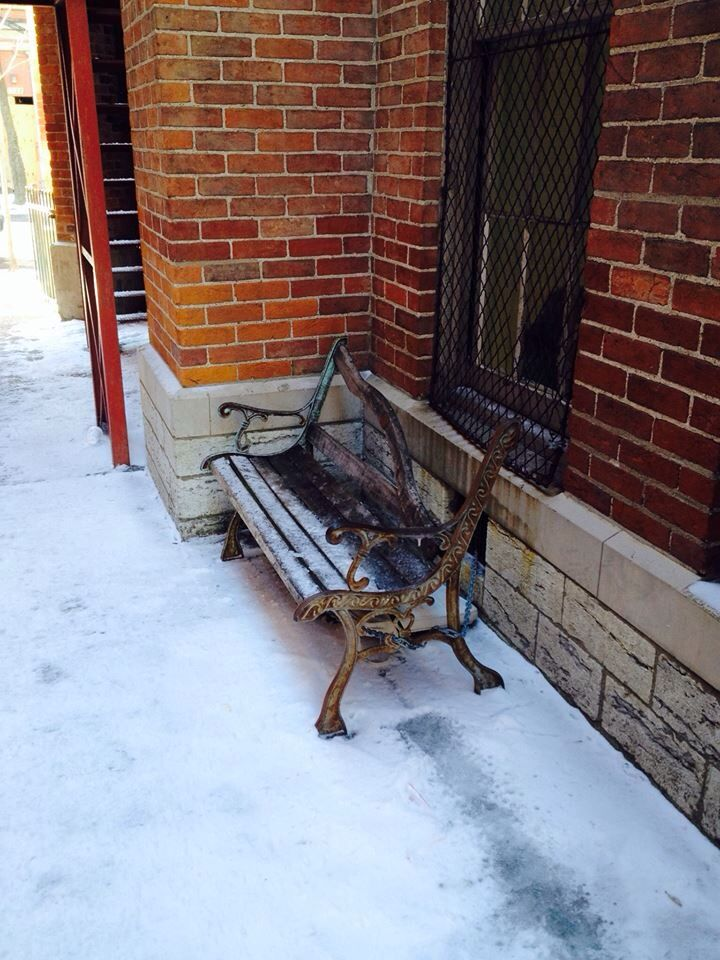 The bench outside Prince of Peace Church on New Year's Day as the Mustard Seed Servants minister to the homeless, poor and marginated in OTR.