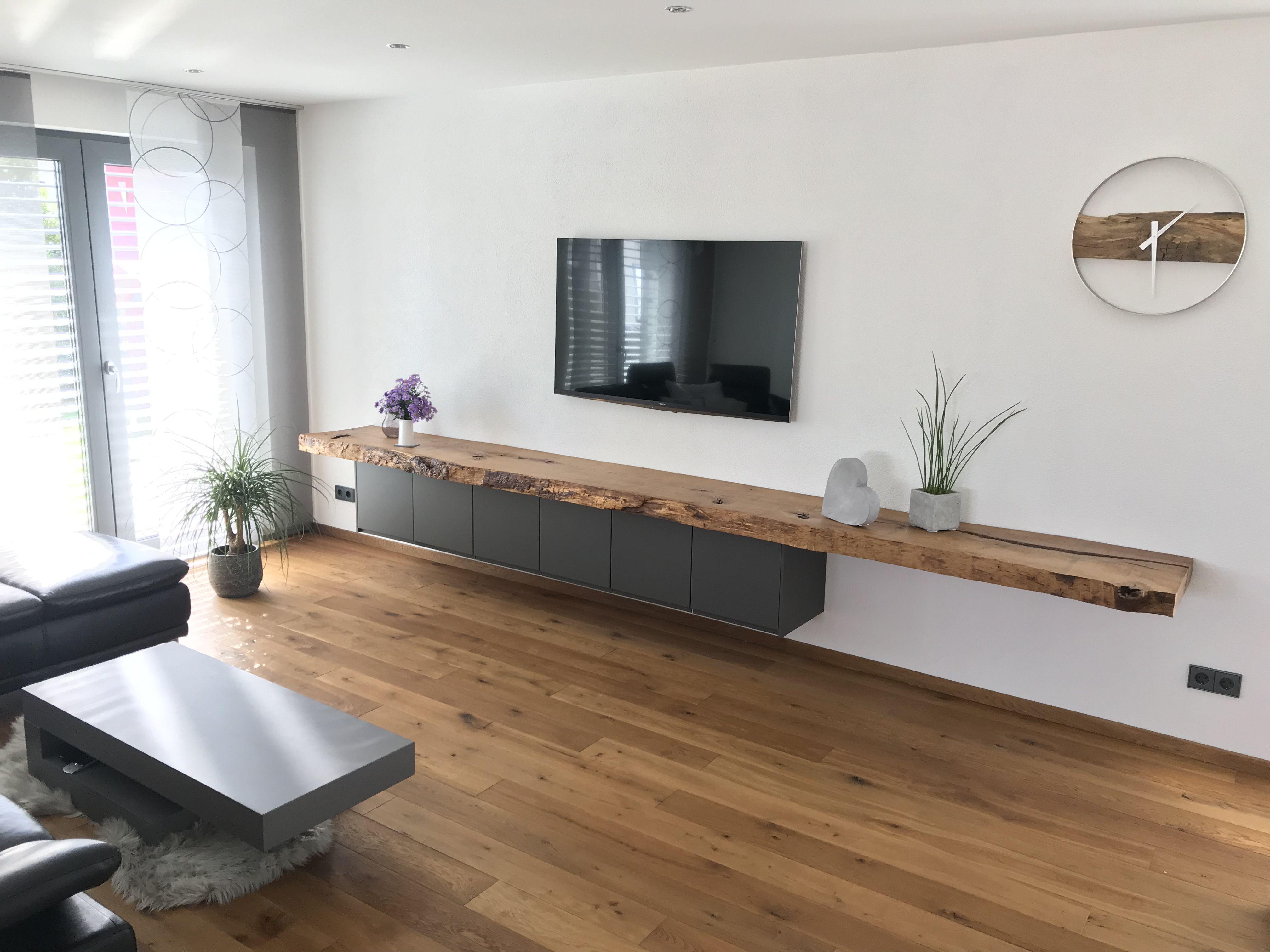 Betontisch Eichendiele Tv Board Wohnung Wohnzimmer Wohnzimmer Ideen Wohnung Wohnzimmer Einrichten