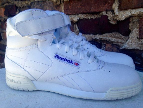 3ec246a3f52 vintage classic reebok exofit hi high tops hi-top men s 8 women s 9.5 10  bright white retro 80s 90s velcro