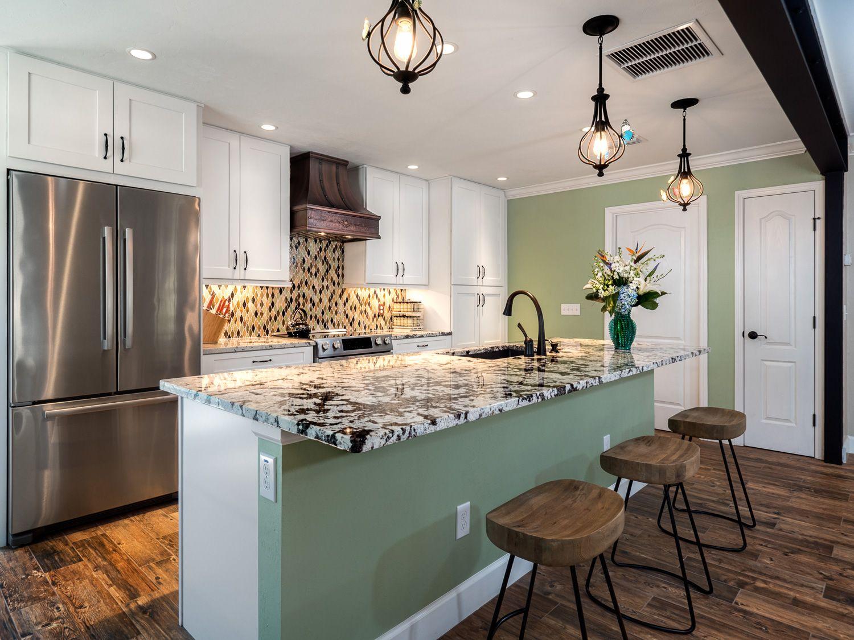 Open Kitchen Concept with White Cabinets, Granite ...