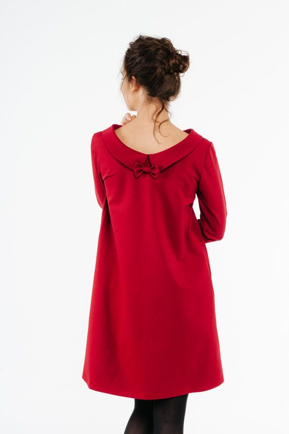 Schwung Kleid Kragen rot Kleid, Hochzeit Gast, LeMuse Swing Kleid ...