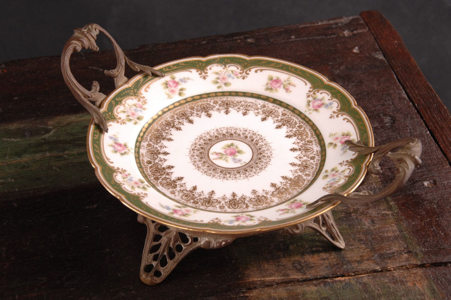 GDA Limoges Plate with Brass Mounts by dinaandpartners on Etsy