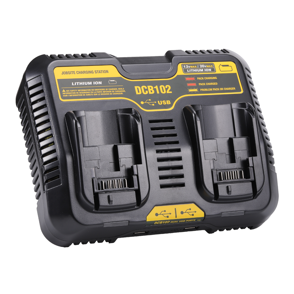 For Dewalt 12v 20v Max Battery Charger Dcb102 With Dual Port Charger Power Tool Batteries